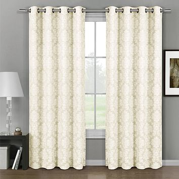 108x96 Ivory Aryanna Jacquard Grommet Top Curtain Panel Pair (set of 2)