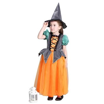2017 Halloween Costum Girls party Pumpkin Dress Kids Baby Princess clothes Children Thanksgiving performance Costume Free hat
