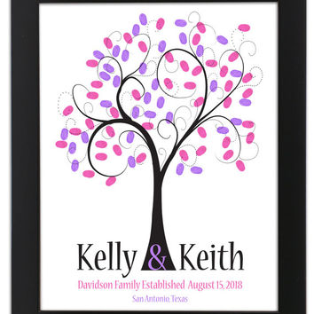 Thumbprint Stamp Tree guest book, THUMBPRINT TREE, wedding tree guest book, fingerprint guest tree, Love Birds, Wedding Poster 16x20 num.141