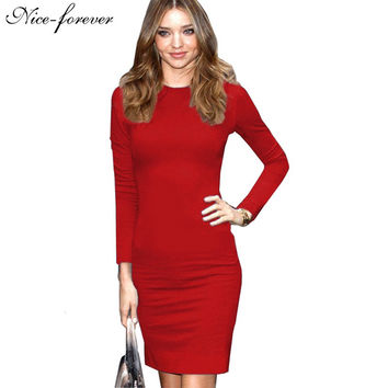 Nice-forever Autumn women Business dress blue vintage long sleeve formal Zipper wear to work bodycon pencil Midi dress bty758