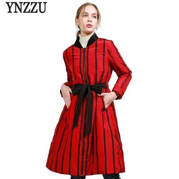 Collection Womens Down Jacket Chic Striped Lace Up Slim Long Down Coat Parkas Yo488