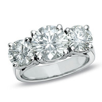 3-3/4 CT. T.W. Diamond Three Stone Ring in 14K White Gold (H/I, I1) - View All Rings - Zales