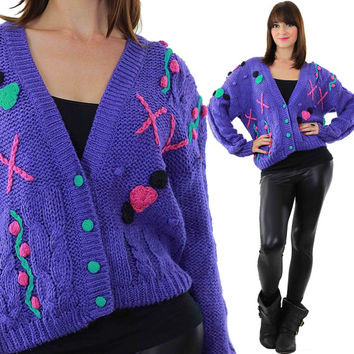 Cable knit Cardigan Vintage 80s Applique cardigan Sweater Hand knit sweater Purple knit cardigan Boho sweater Floral cardigan