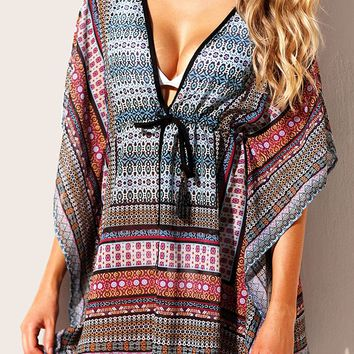 Blue Multicolor Bohemian Print Beach Caftan Cover-up