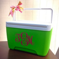 Monogrammed Cooler Personalized Cooler Monogram Decal Monogram Decal Monogram Sticker