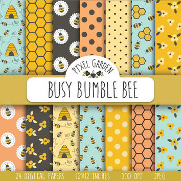 Bee Digital Paper. Honeycomb Scrapbook Paper. Bumble Bee Digital Background. Honeybee, Honey, Hive Digital Paper in Turquoise, Pink, Yellow.
