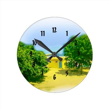 Air Brushed Lake Michigan Shores Round Clock