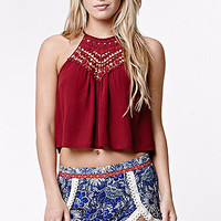 LA Hearts Crochet Bib Goddess Neck Cropped Tank Top at PacSun.com