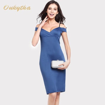 Oukytha 2017 New Couture Fashion Sexy Strapless Sling Stretch Pencil Dress Waist Printing Package Hi