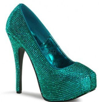 Teal Satin Rhinestone Platform Pump Heels @ Amiclubwear Heel Shoes online store sales:Stiletto Heel Shoes,High Heel Pumps,Womens High Heel Shoes,Prom Shoes,Summer Shoes,Spring Shoes,Spool Heel,Womens Dress Shoes,Prom Heels,Prom Pumps,High Heel Sandals,Che