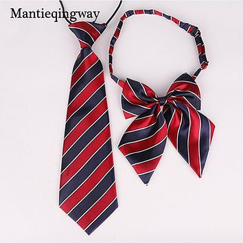 Polyester Tie Skinny Ties Cravat Set Collar Papillon Neckwear School Style Striped Plaid Child Bowtie Necktie
