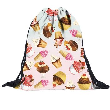 Ice Cream Dessert Drawstring Bags Cinch String Backpack Canvas