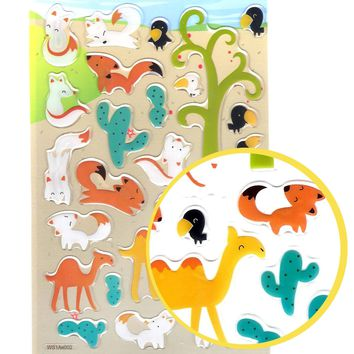 Foxes and Camel Illustrated Animal Shaped Jelly Puffy Stickers for Scrapbooking