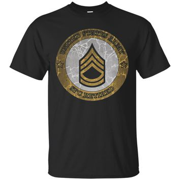 ARMY SERGEANT FIRST CLASS RETIRED DISTRESSED T-SHIRTS_Black