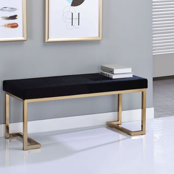 Astonishing Bench, Black Fabric & Gold By ACME