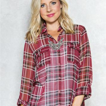 Mine Chiffon Plaid Shirt