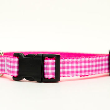 Custom Fit Pink Dog Collar 3/4 Inch wide | Custom Size Pink Gingham Collar | Made to Order Adjustable Custom Size Collar