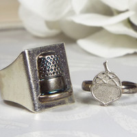 Peter Pan Kiss Thimble & Acorn Couples Alternative Engagement Ring Set