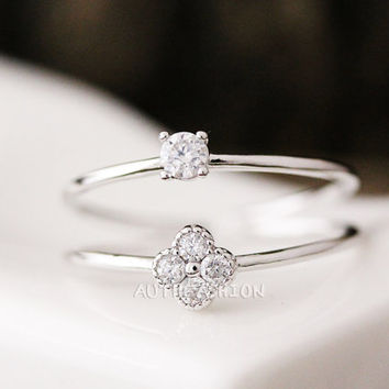 Adjustable Crystal Double Ring Simple Unique Ring Jewelry Silver Plated Gift Idea byr29