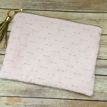 Blush Pink and Gold Arrow Clutch with Gold Leather Tassel, Oversize Pink Arrow Clutch, Rose Quartz Clutch