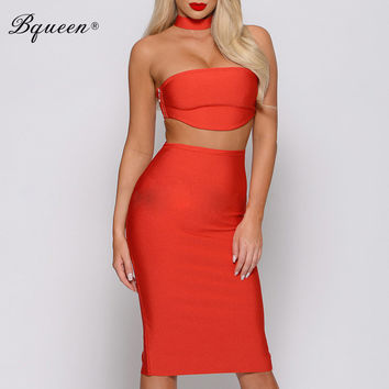Bqueen Factory Direct 2016 New Party Dresses Sexy Strapless Bandage Dress 2 Piece Sets  Bodycon Dress