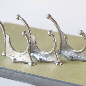 Wall hooks vintage set 3, Soviet school hooks grey shades, gray pewter cottage hooks vintage, home decor hangers small wall decor