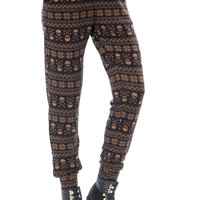Leggsington Skully Winter Soft Knit Skull Print Jogger Pants