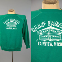 60s Sweatshirt Camp Barakel Michigan Classic Green Raglan Sleeve Athletic Sweatshirt