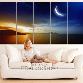Blue Sky and Moon Light Canvas Print - Moon Light on Ocean Night Large Wall Art Canvas