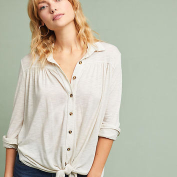 Knit Tie-Front Buttondown