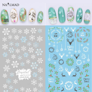 1 sheet Snowflake Nail Water Decals Christmas Nail Transfer Stickers Xmas Deer Nail Art Sticker Tattoo Decoration