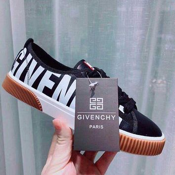 GIVENCHY Newest Popular Women Casual Black White Mix Match Low Top Sport Shoes Sneakers Khaki Sole I13578-1