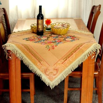 Tache Floral Tapestry Red Beige Yuletide Blooms Woven Table Runner Linen 3pc Set
