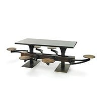 Iron Dining Table with Wood Base