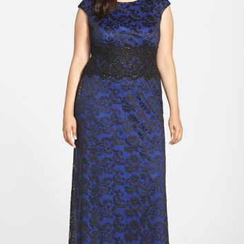 Plus Size Women's Alex Evenings Applique Waist Embroidered Cap Sleeve Gown,