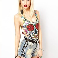 Freak Of Nature Day Of The Dead Bodysuit at asos.com