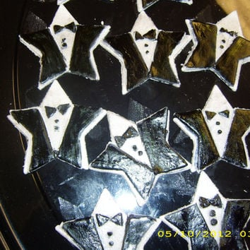 Tuxedo Stars Cupcake Toppers (set 12)