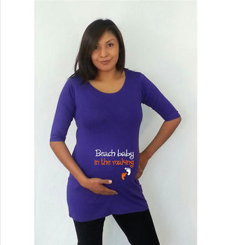 """Funny  maternity Shirt """"Beach baby in the making"""" - maternity shirt, maternity clothes"""
