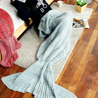 <Winter Big Promotion>Warm Knitted Sofa Bedding Mermaid Tail Blanket Children Womens Home +Christmas Gift