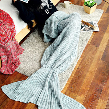 Warm Knitted Sofa Bedding Mermaid Tail Blanket Children Womens Home +Christmas Gift