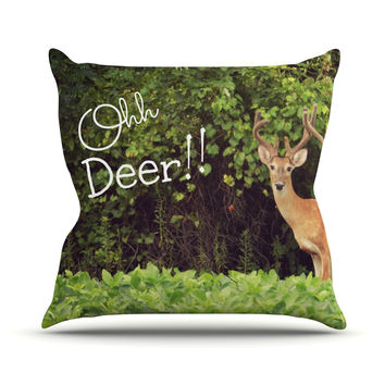"Robin Dickinson ""Ohh Deer"" Green Brown Outdoor Throw Pillow"