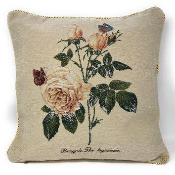 Tache Golden Summer Rose Throw Pillow Cushion Cover (CC-342)