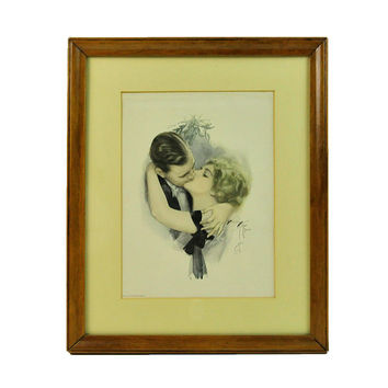 Harrison Fisher Print, Framed, The First Kiss, Cosmopolitan Magazine, Signed, Published by Reinthal & Newman, NY