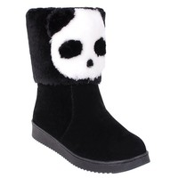 Color Block Panda Pattern Flock Snow Boots