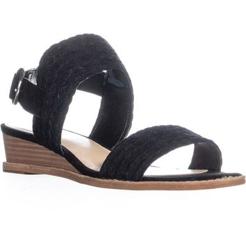 Vince Camuto Raner Braided Wedge Sandals, Black, 9 US / 39 EU