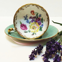 Vintage Aynsley Tea Cup, Mint Green, Hand Painted Flowers, Lacy Gold, 1930s, Bridal Shower