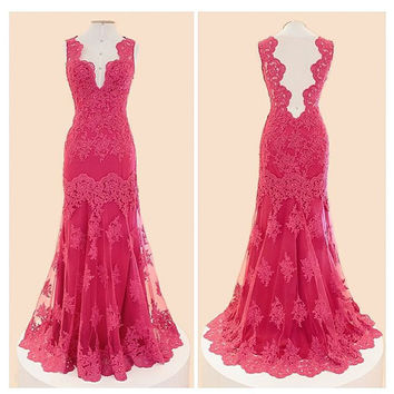 2016 Red Lace Mermaid Prom Dresses V Neckline Sexy Long Prom Gown Sleeveless Formal Evening Gowns vestido de festa