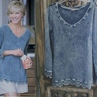 Soft Surroundings Blue Thermal Waffle Vintage Washed Lace Crochet Trim Top S