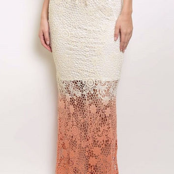 Ombre Crochet Maxi Dress with Lining Skirt