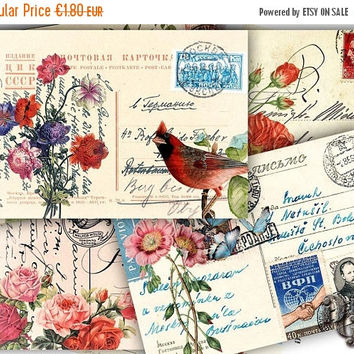 40% VINTAGE POSTCARDS Digital Collage Sheet Shabby Floral Postcards - Greeting Cards - Jewelry Holders - Printable Collage - Paper Craft  C_